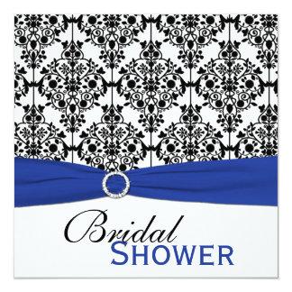 """La ducha nupcial del damasco azul, blanca, y negra invitación 5.25"""" x 5.25"""""""
