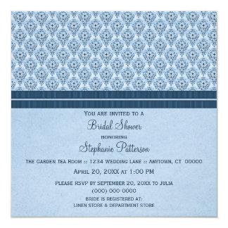 La ducha nupcial del damasco dramático azul invita invitación 13,3 cm x 13,3cm