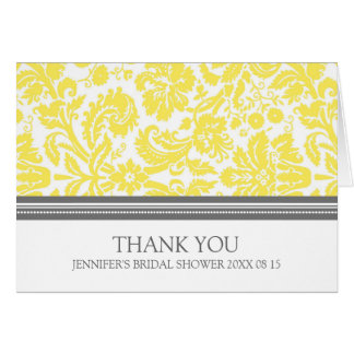 La ducha nupcial del damasco gris amarillo le agra tarjeta de felicitación