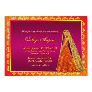 La ducha nupcial del damasco indio elegante del invitación 12,7 x 17,8 cm