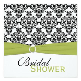 """La ducha nupcial del damasco verde, blanca, negra invitación 5.25"""" x 5.25"""""""