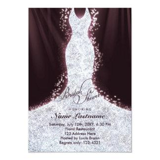 La ducha nupcial del falso vestido elegante del invitación 12,7 x 17,8 cm