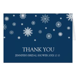 La ducha nupcial del invierno blanco azul le tarjeta de felicitación