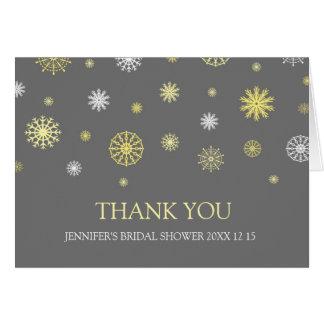 La ducha nupcial del invierno gris amarillo le tarjeta de felicitación