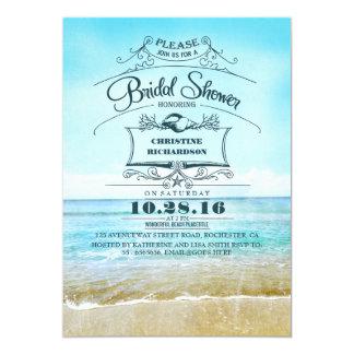 """La ducha nupcial del ombre azul retro de la playa invitación 5"""" x 7"""""""