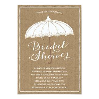 La ducha nupcial del paraguas el | del vintage invitación 12,7 x 17,8 cm
