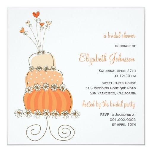la ducha nupcial del pastel de bodas dulce del invitación 13,3 cm x 13,3cm
