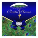 La ducha nupcial del pavo real del azul real invitaciones personales