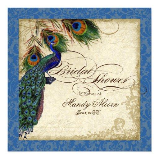La ducha nupcial del pavo real y de las plumas inv invitaciones personalizada