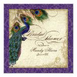 La ducha nupcial del pavo real y de las plumas invitación 13,3 cm x 13,3cm