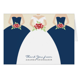 La ducha nupcial del vestido de boda le agradece tarjeta pequeña