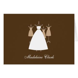 La ducha nupcial del vestido moderno le agradece c tarjeton