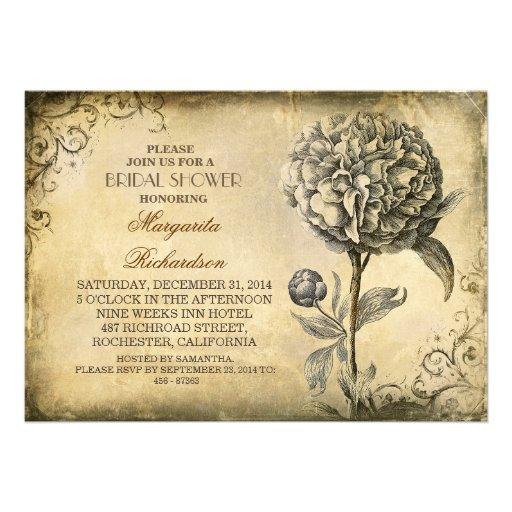 la ducha nupcial del vintage invita con la floraci invitación personalizada