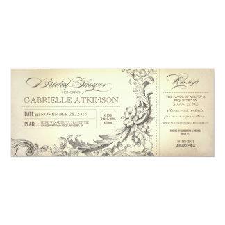 la ducha nupcial del vintage marca invitaciones invitación 10,1 x 23,5 cm