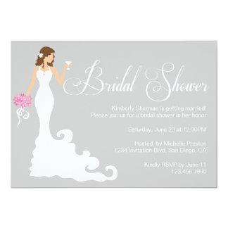 La ducha nupcial elegante de la novia moderna gris invitación 12,7 x 17,8 cm