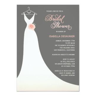 La ducha nupcial elegante elegante del vestido de invitaciones personales