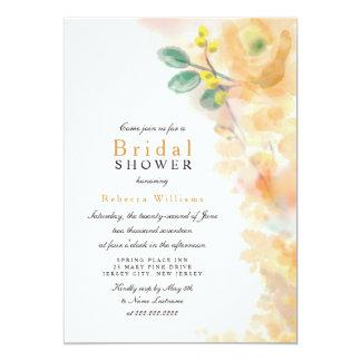 La ducha nupcial floral amarilla de la acuarela invitación 12,7 x 17,8 cm