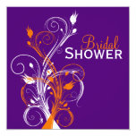La ducha nupcial floral blanca anaranjada púrpura invitaciones personalizada