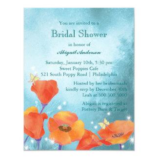 """La ducha nupcial floral de la amapola linda invita invitación 4.25"""" x 5.5"""""""