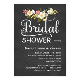 La ducha nupcial floral de la pizarra invita invitación 11,4 x 15,8 cm