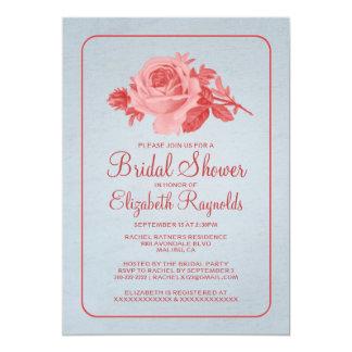 La ducha nupcial floral del rojo azul/de la flor invitación 12,7 x 17,8 cm