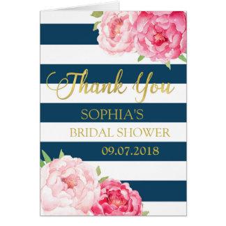 La ducha nupcial floral del rosa de las rayas tarjeta de felicitación