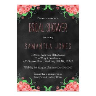 """La ducha nupcial floral del rosa negro de la invitación 5"""" x 7"""""""