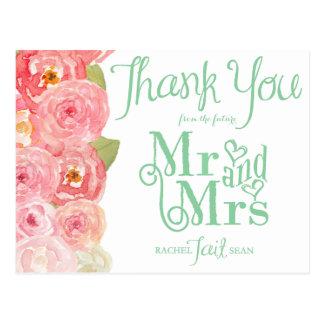La ducha nupcial floral del rosa y del verde le postales