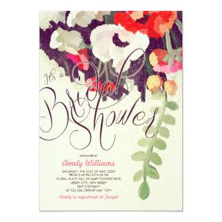 """La ducha nupcial floral multicolora romántica invitación 5"""" x 7"""""""