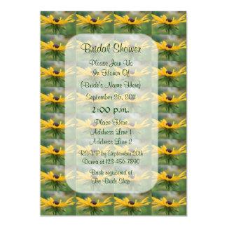 """La ducha nupcial floral observada negro de Susan Invitación 5"""" X 7"""""""