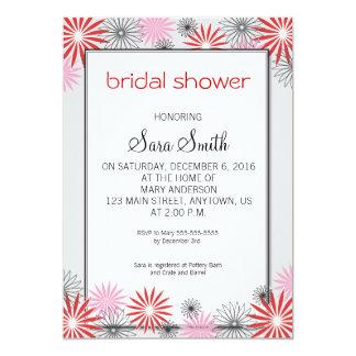 """La ducha nupcial floral roja y rosada invita invitación 5"""" x 7"""""""