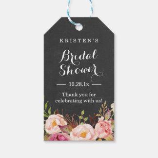 La ducha nupcial floral rosada de la pizarra el | etiquetas para regalos
