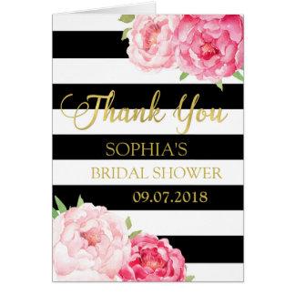 La ducha nupcial floral rosada de las rayas negras tarjeta de felicitación