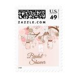La ducha nupcial floral rosada elegante del tarro sellos