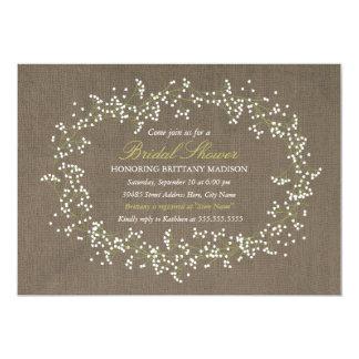 La ducha nupcial floral rústica de la guirnalda y invitación 12,7 x 17,8 cm