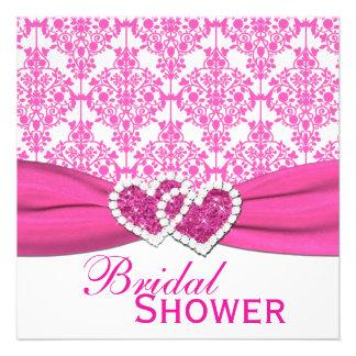 La ducha nupcial fucsia del damasco rosado y invitacion personal