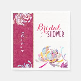 La ducha nupcial fucsia floral moderna favorece servilleta de papel
