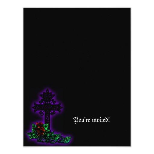 La ducha nupcial gótica de la cruz y del lirio invitación 10,8 x 13,9 cm