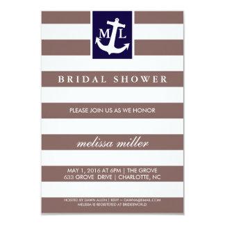 """La ducha nupcial invita - a iniciales náuticas invitación 3.5"""" x 5"""""""