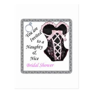 la ducha nupcial invita - a rosado y a negro postales