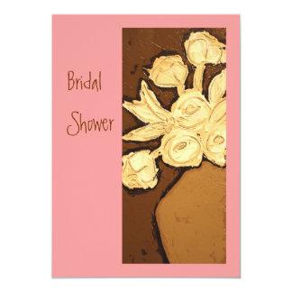 La ducha nupcial invita en rosas y marrones invitación 12,7 x 17,8 cm
