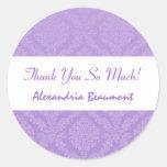 La ducha nupcial le agradece el damasco púrpura etiquetas redondas