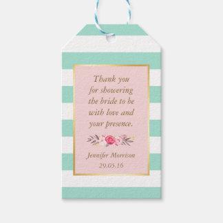 La ducha nupcial le agradece las rayas rosadas etiquetas para regalos