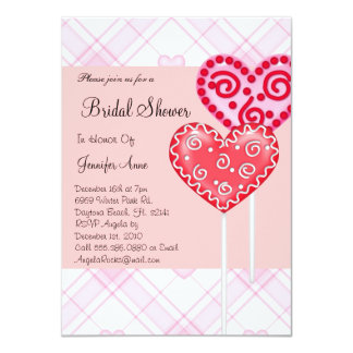 """La ducha nupcial linda de los corazones rosados y invitación 4.5"""" x 6.25"""""""