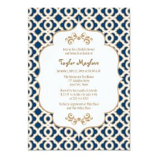 La ducha nupcial marroquí de los azules marinos y invitación 12,7 x 17,8 cm