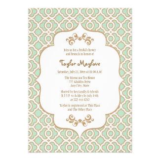 La ducha nupcial marroquí del oro de verde menta i invitaciones personalizada
