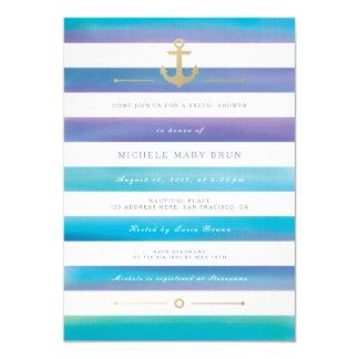 """La ducha nupcial náutica rayada acuarela invita invitación 5"""" x 7"""""""