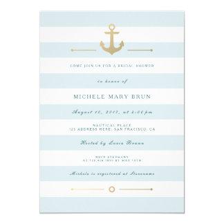 """La ducha nupcial náutica rayada azul de la invitación 5"""" x 7"""""""
