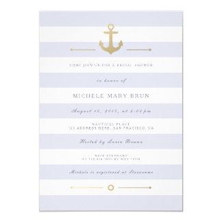 """La ducha nupcial náutica rayada ligera invita invitación 5"""" x 7"""""""