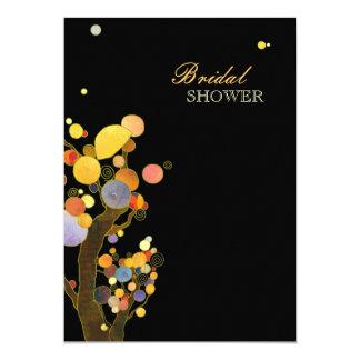 La ducha nupcial negra elegante de los árboles invitación 12,7 x 17,8 cm